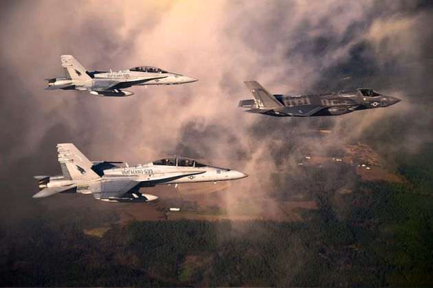 f-35b f-18 marine corps