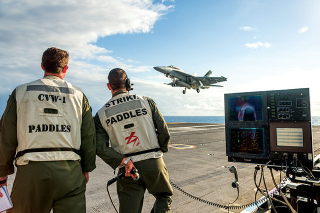 U.S. Navy Air Test and Evaluation Squadron Two Three (VX-23) conducts F/A-18 and EA-18G Maritime Augmented Guidance with Integrated Controls for Carrier Approach and Recovery Precision Enabling Technologies (MAGIC CARPET) testing aboard U