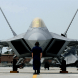 F-22A Raptor Demonstration Team aircraft maintainers prepare to launch out Maj Paul Max Moga