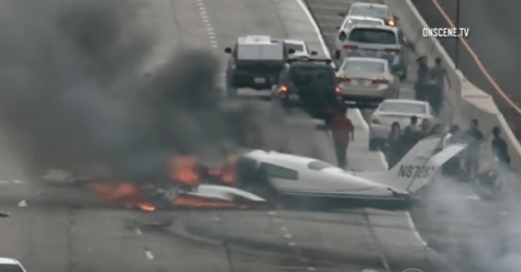 Watch: Small Plane Lands on California Freeway and Burns