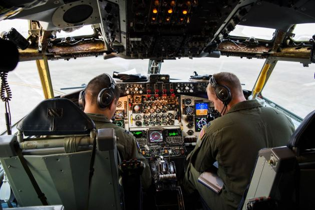 Aaron Cho and Jared MacNaught taxi their KC-135 Stratotanker