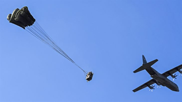 Humvee Descends after release from air force c-130