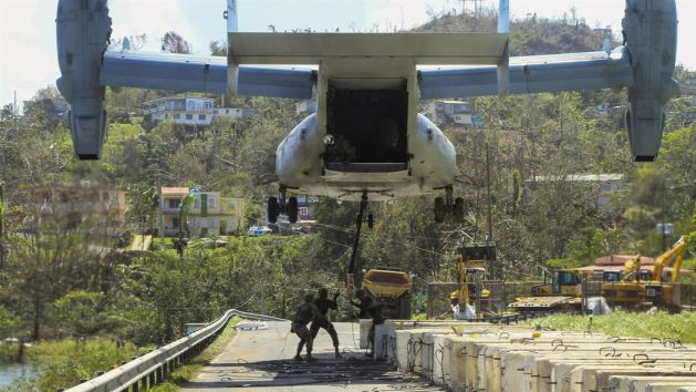 Picture of the Day: V-22 Osprey Tiltrotor Working Barriers to Reinforce Guajataca Dam Puerto Rico