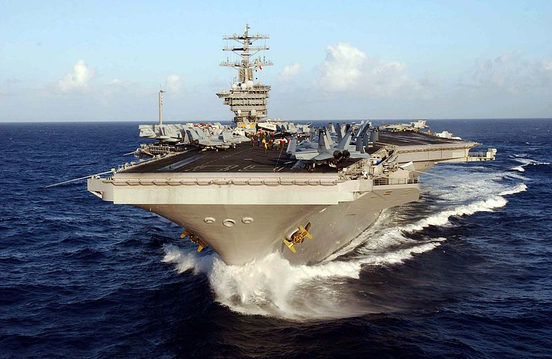 nuclear powered aircraft carrier USS Nimitz (CVN 68) underway off the coast of Hawaii in the Pacific Ocean