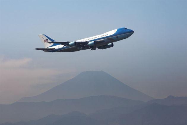 Air Force One Departs Yokota Air Base, Japan