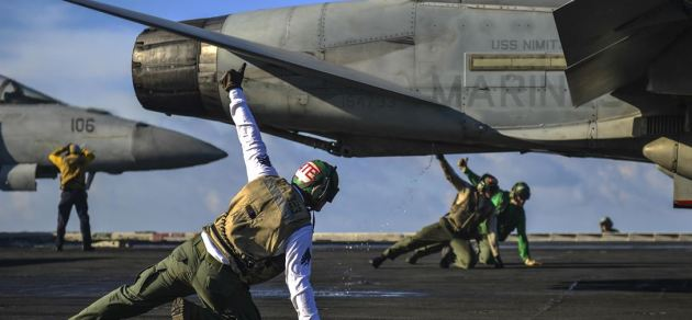 F/A-18C from the flight deck of the USS Nimitz in the South China Sea