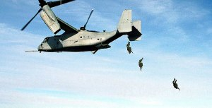 Marine Corps Parachutists Free Fall from MV-22 Osprey at 10,000 feet