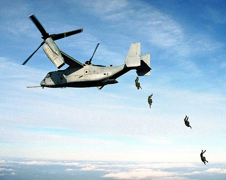 Marine Corps Parachutists Free Fall from MV-22 Osprey at 10,000 feet