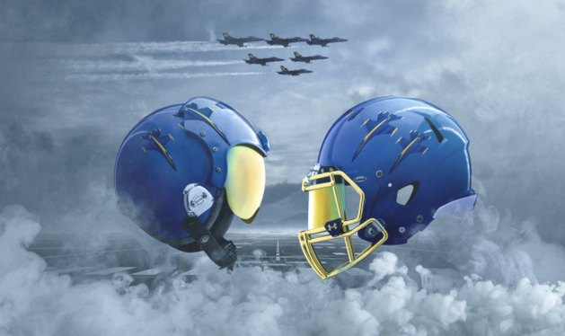 naval academy blue angels theme uniforms and helmet army navy game 2017