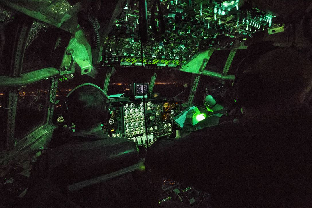 C-130H Hercules during an aeromedical evacuation training mission from Joint Base McGuire-Dix-Lakehurst, N.J