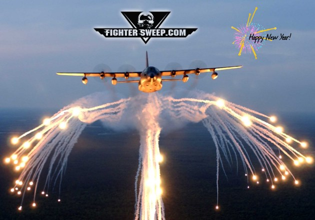 happy new year 2018 fighter sweep c-130 flares