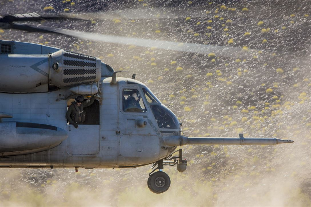CH-53E Super Stallion takes off at Naval Air Facility El Centro, California