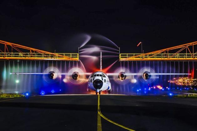 Coast Guard HC-130 Hercules Receives a Wash Down