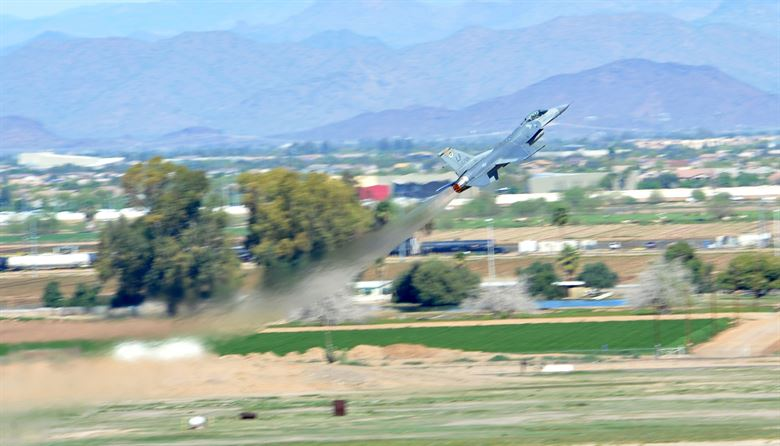 F-16 Fighting Falcon does a near-vertical takeoff at Luke Air Force Base