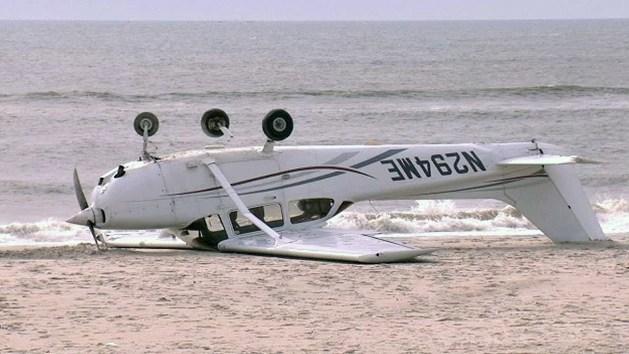 Small plane makes emergency landing, flips over on Long Island beach