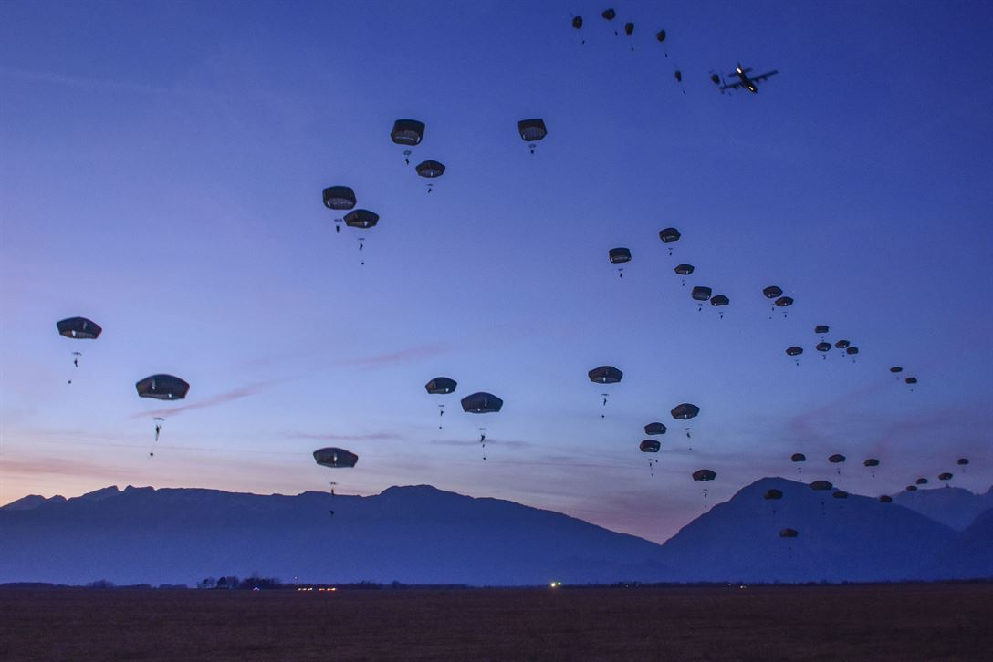 173rd Airborne Brigade Soldiers Night Jump Near the Dolomite Mountains