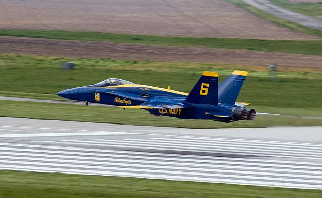 Blue Angels opposing solo performs a low transition
