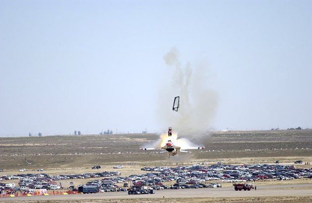 Mountain Home Air Force Base, Idaho — Capt. Christopher Stricklin ejects from the USAF Thunderbirds number six aircraft less than a second before it impacted the ground at an air show at Mountain Home Air Force Base, Idaho, Sept. 14.