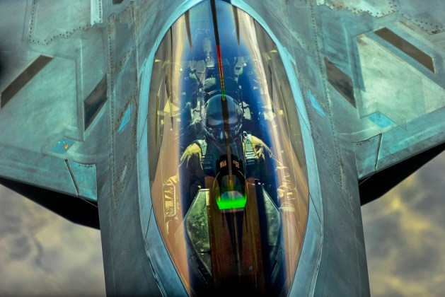 Air Force F-22 to Receive Fuel from a KC-10 Extender over Syria