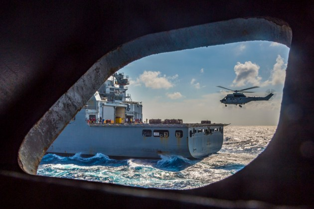 SA 330 Puma Helicopter Conducts a Replenishment in South China Sea
