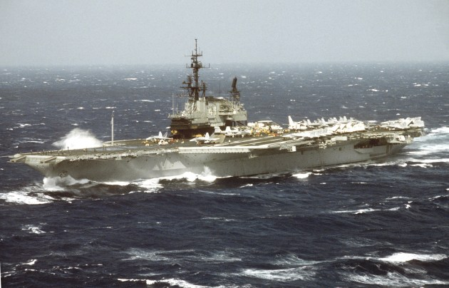 aircraft carrier pitching deck