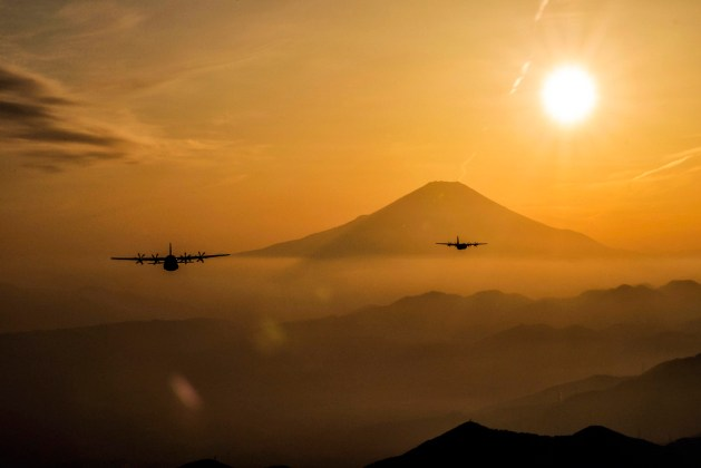 Air Force C-130J Super Hercules aircraft fly over Yamanashi Prefecture, Japan
