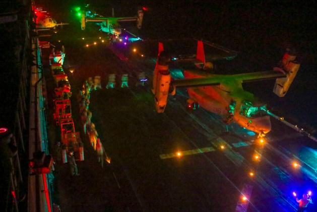 US Marines Board an MV-22B Osprey on the USS Iwo Jima