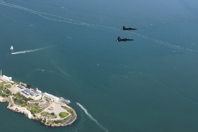 T-38s from Beale Air Force Base, California, fly in formation over Alcatraz