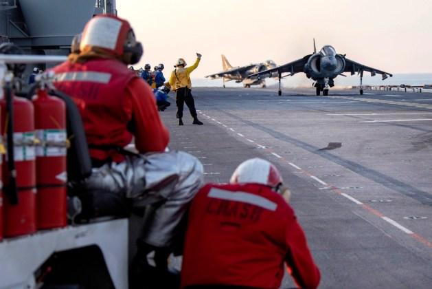 AV-8B Harrier Prepares to Take Off From the Assault Ship USS Kearsarge
