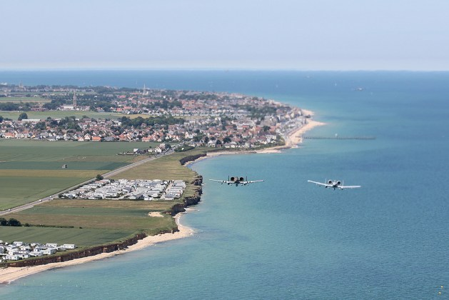 Air Force A-10 Thunderbolt II Aircraft Over the Beaches of Normandy