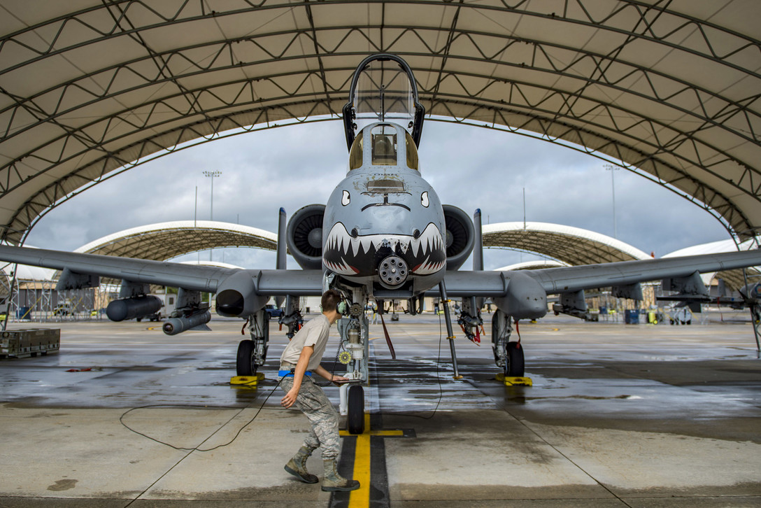 Air Force Airman 1st Class Jacob Curry Performs Preflight Checks