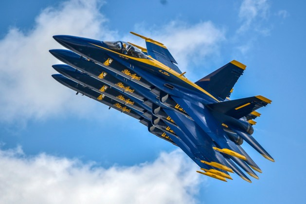 Blue Angels, the Navy's flight demonstration squadron, perform during the Vectren Dayton Air Show in Dayton, Ohio