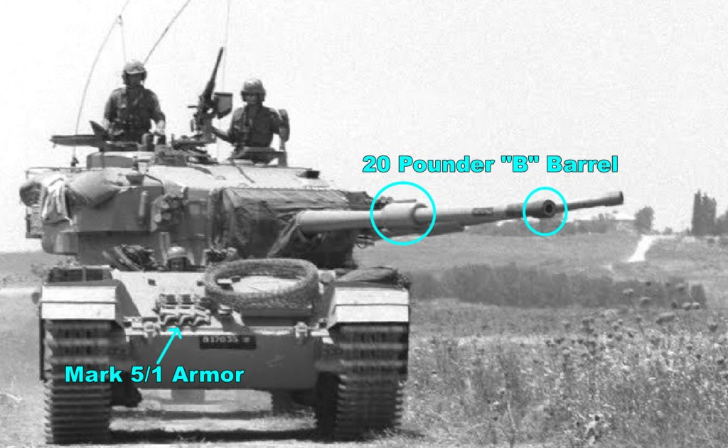 Centurion Tank Mk 5/1 Israel. Note the weld line where upper meets lower hull & 20 Pounder B Barrel