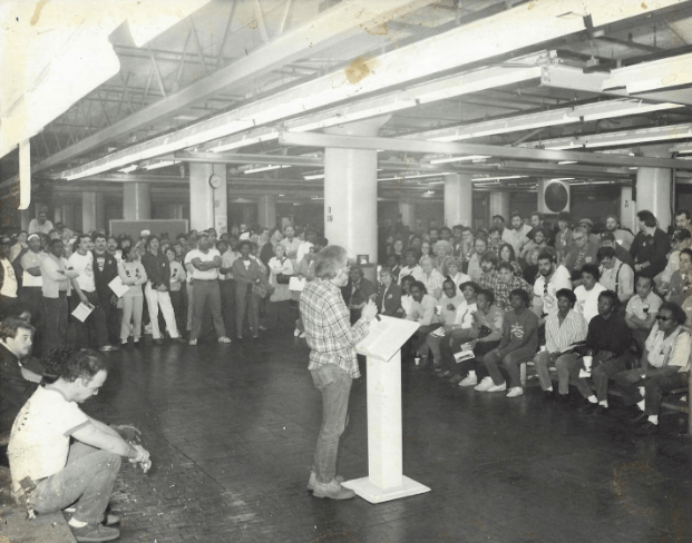 UAW Local 15, Fleetwood GM Plant organizes mass in-plant meetings to talk about stopping the plant closing. (1987)