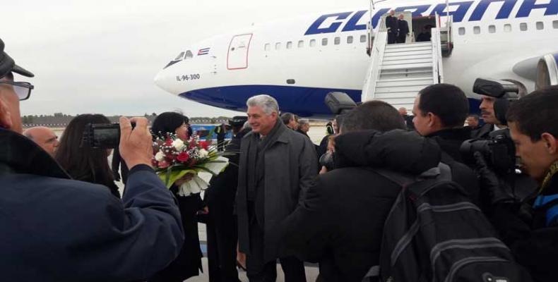 President Miguel Diaz-Canel arrives in Paris en route to Russia.