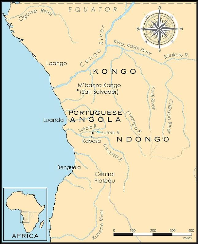 Map of Angola region of Africa