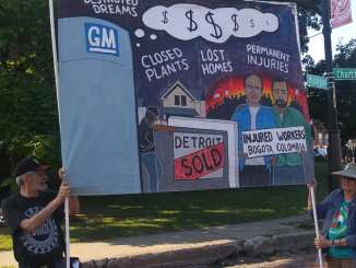 Detroit Annual Labor Day Parade where trade unionists held a banner in solidarity wiith injured Colombian GM workers, Mon. Sept. 2, 2019