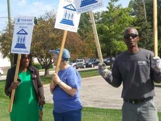 Detroit Moratorium NOW! Coalition demonstration at Prudential in Farmington Hills MI
