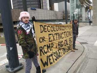 Detroit demonstration in solidarity with the Wet'suwet'en Nation in front of the Canadian Consulate on Feb. 17, 2020