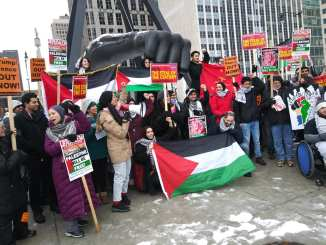 Detroit Palestine Solidarity demonstration at the Joe Louis Fist on Jefferson downtown