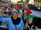 "Palestinians protest Trump's ""fraud of the century' in Rabat, Morocco."
