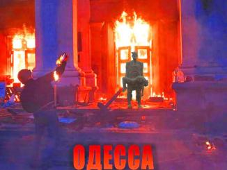 Poster memorializing those massacred in Odessa Ukraine.