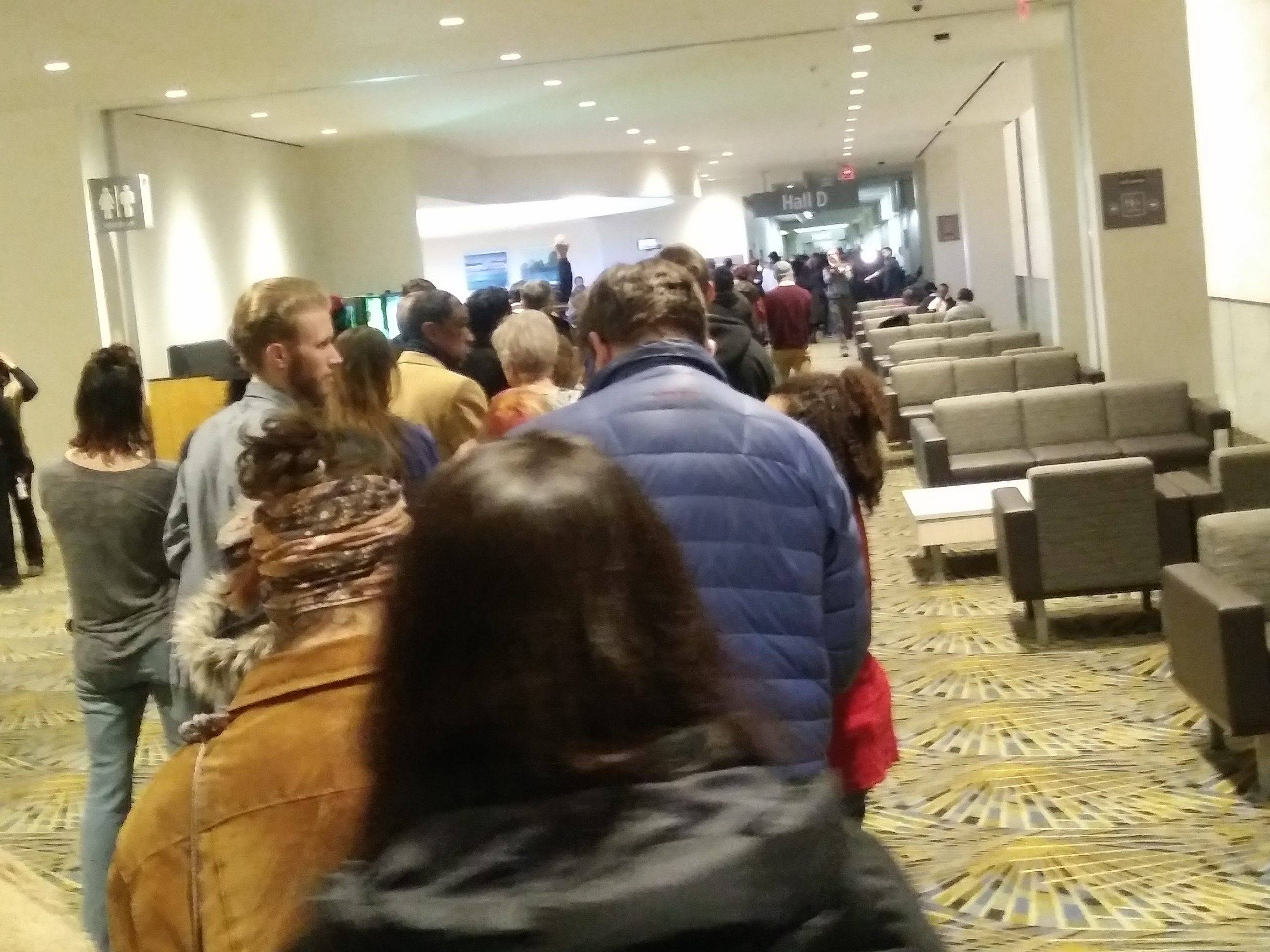 thousands standing in line to enter Sanders rally on March 6, 2020 at the TCF Conference Center in