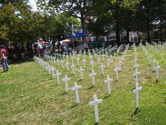 July 4 Veterans for Peace display on Michigan war dead from Afghanistan and Iraq at Grand Circus Park