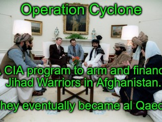 President Ronald Reagan met with Afghani guerrilla fighters promising money and weapons to kill Russian (Soviet) troops.