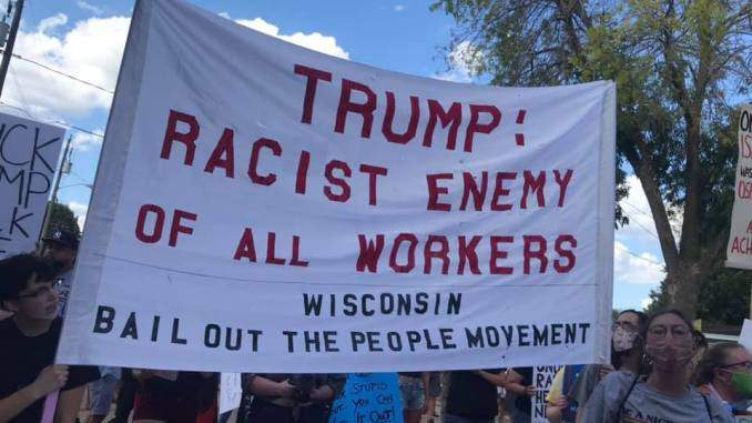 Hundreds protest Trump in Oshkosh, WI August 17, 2020