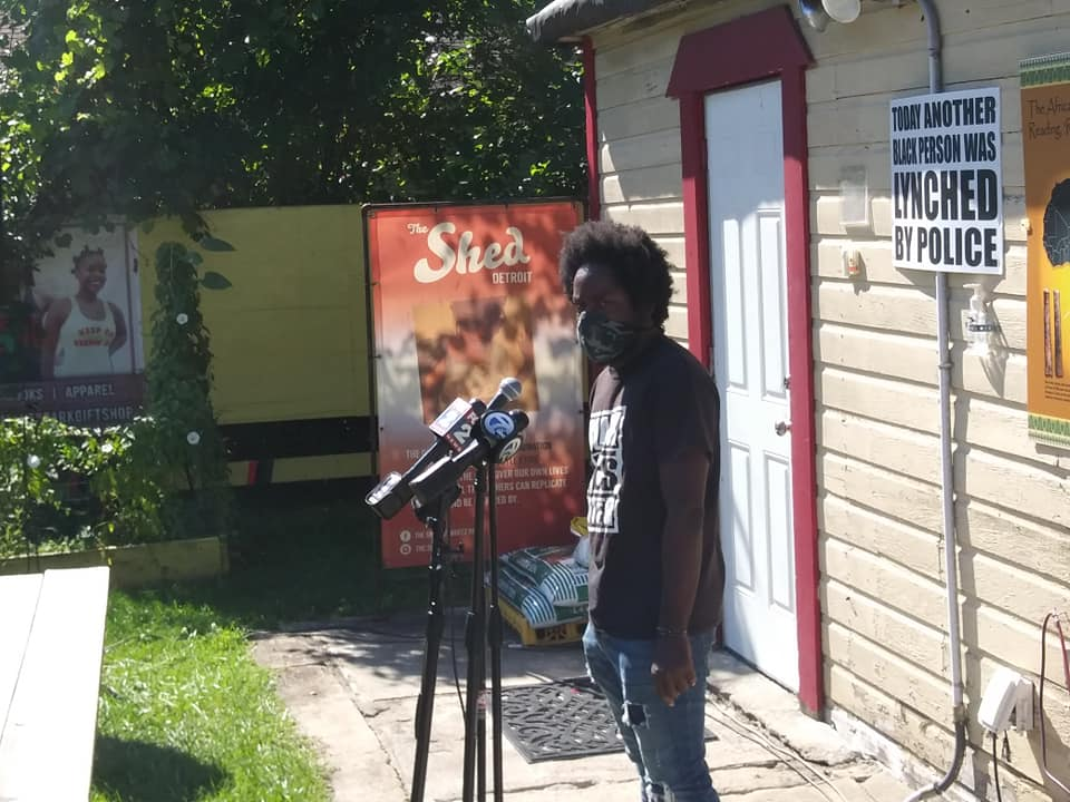Press conference on police brutality featured Tristan Taylor an organizer for Detroit Will Breathe (Photo by Abayomi Azikiwe)