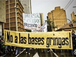 Protest in Bogota, Colombia of the massive assassinations
