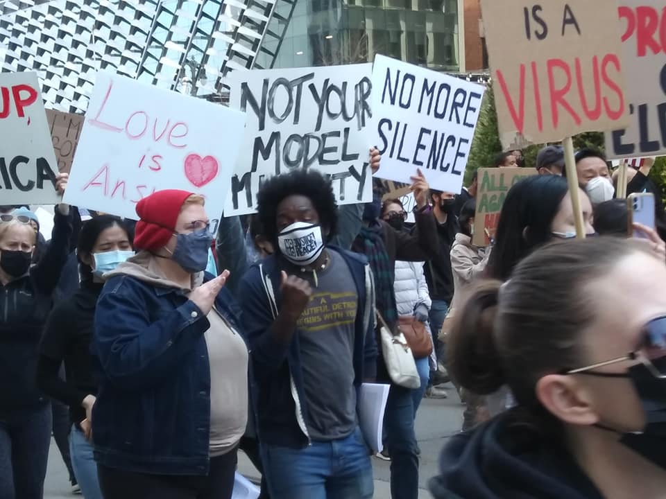 Demonstration against anti-Asian hate crimes Detroit Will Breathe contingent, March 27, 2021