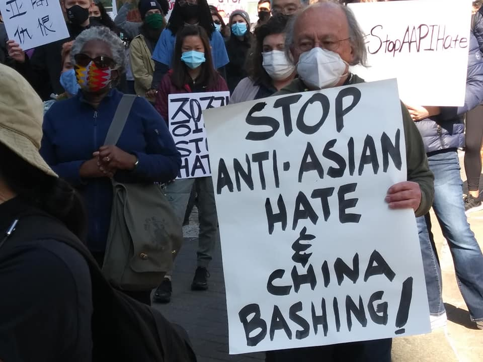 Demonstration against anti-Asian hate with Moratorium NOW! Coalition contingent